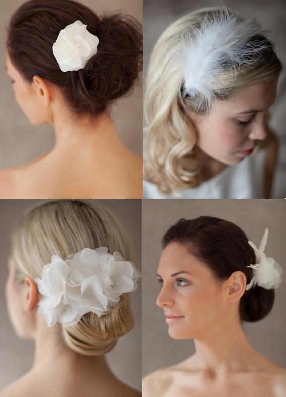Accessoires für die Braut; Stoffblüten; Federn