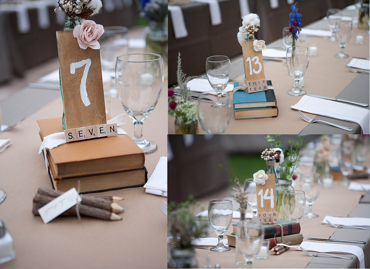 Hochzeit Tischdekoration Bücher Tischnummern