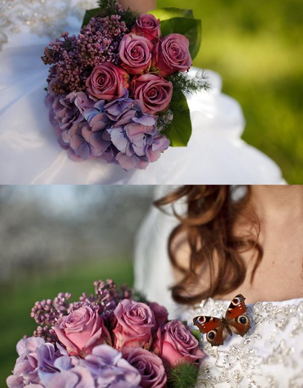 Hochzeit, Brautstrauß, Flieder, Hortensien, Rosen