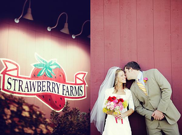 Hochzeitsfoto, Brautstraß, Erdbeere