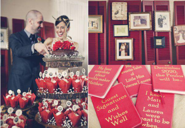 Hochzeitstorte, Cupcakes, Gästebuch, Deko, rot
