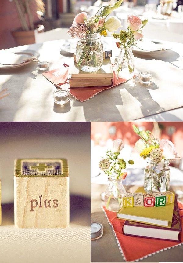 Hochzeit, Tischdekoration, Bücher als Tischdekoration, Blumen