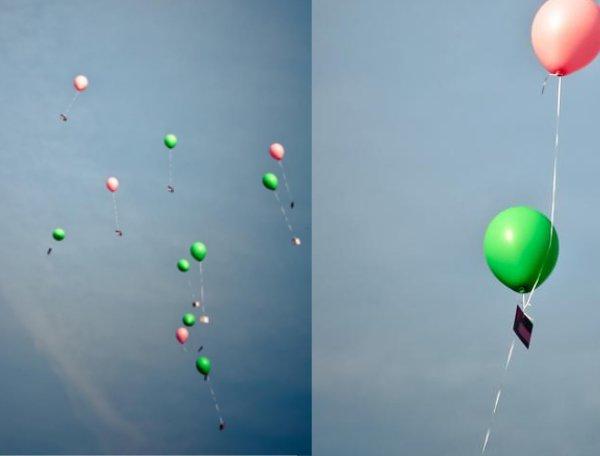 Hochzeit, Luftballons, pink, grün