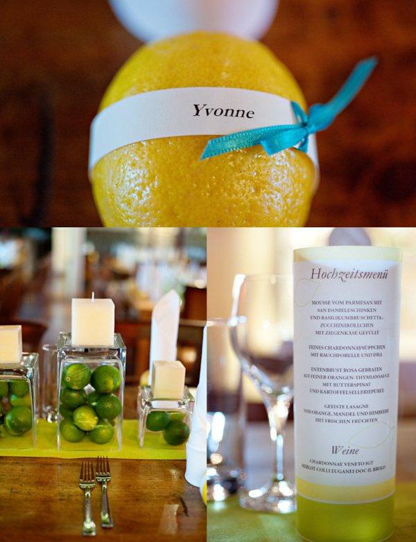 Hochzeit, Tischdeko, Zitronen,