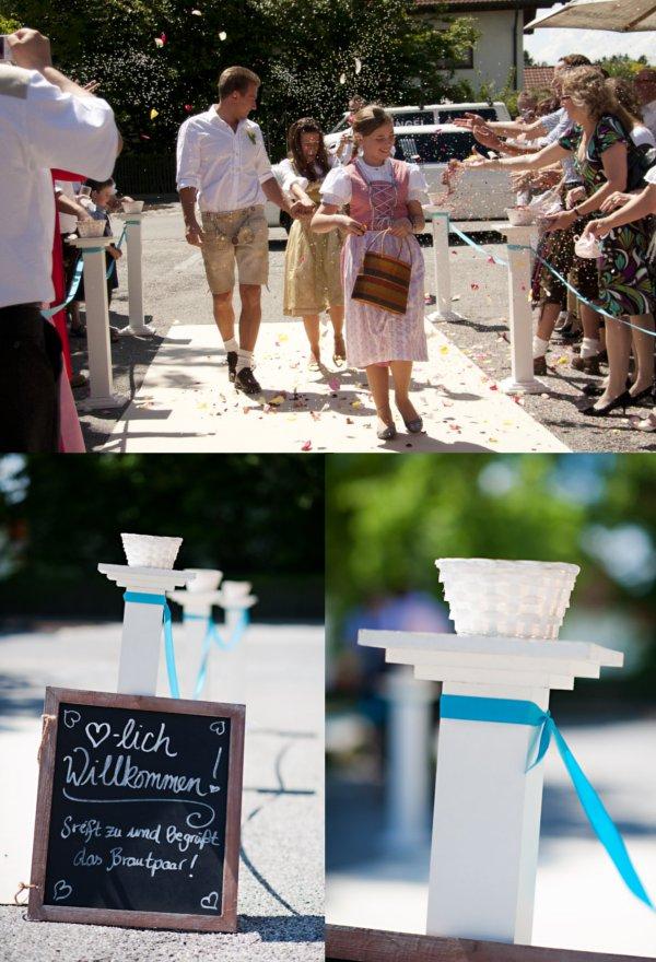 Hochzeit, Empfang, Teppich, Blütenregen