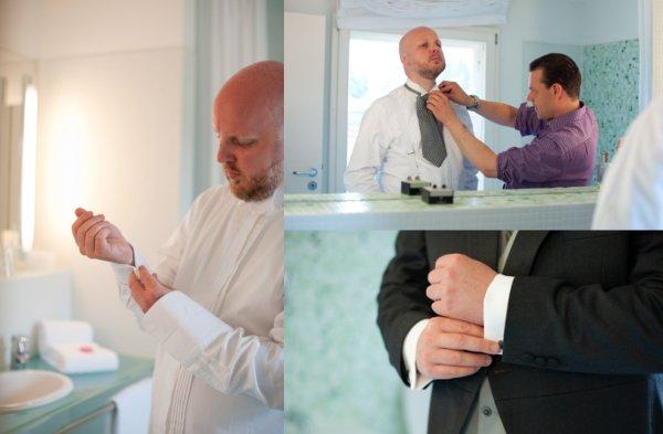 Hochzeit, Ankleiden, Bräutigam, Trauzeuge
