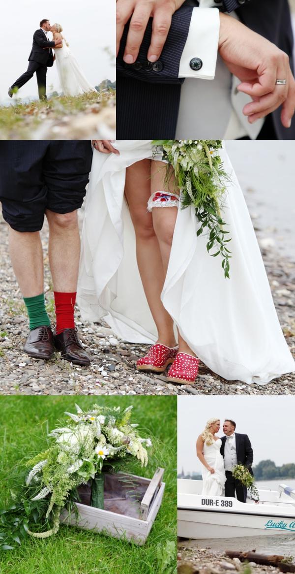 Hochzeit, Accessoires, Strumpfband, Brautstrauß, Brautschuhe, rot, grün, Fliegenpilz,