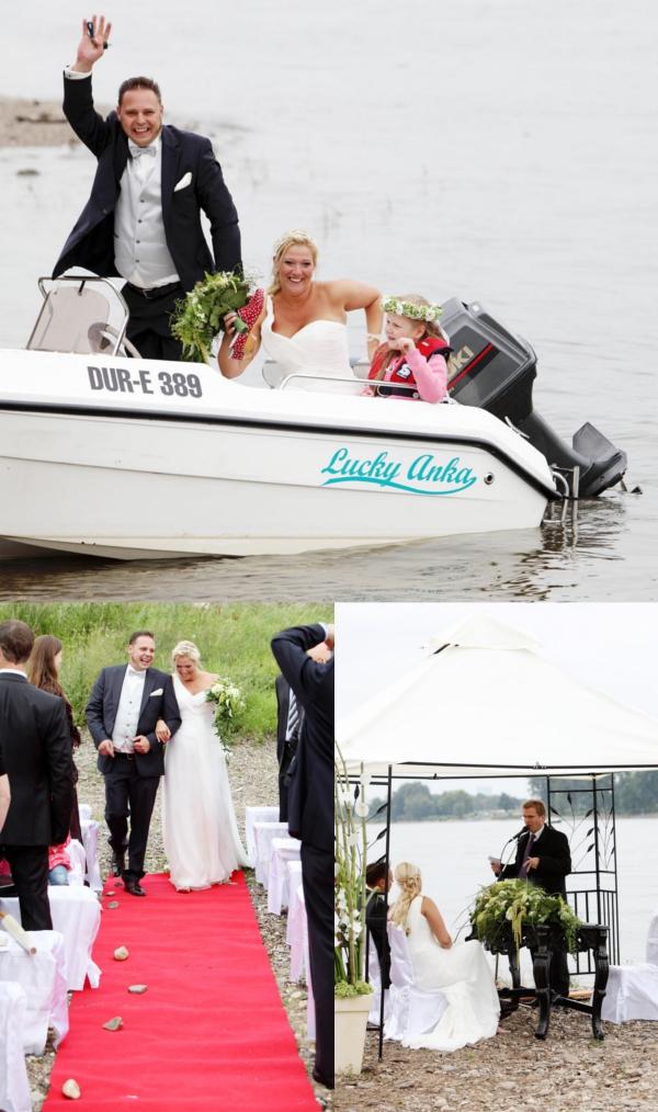 Hochzeit, Trauung, Hochzeitsauto, Boot, Hochzeit maritim