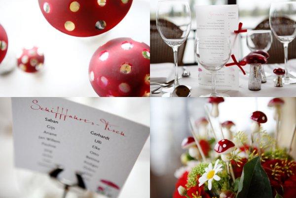 Hochzeit, Tischdeko, Fleigenpilze, rot