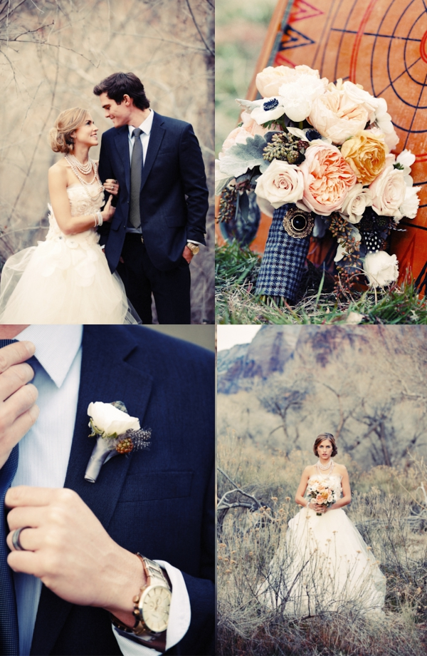 Blumen, Brautstrauß, Boutonniere, Apricot, Rosa
