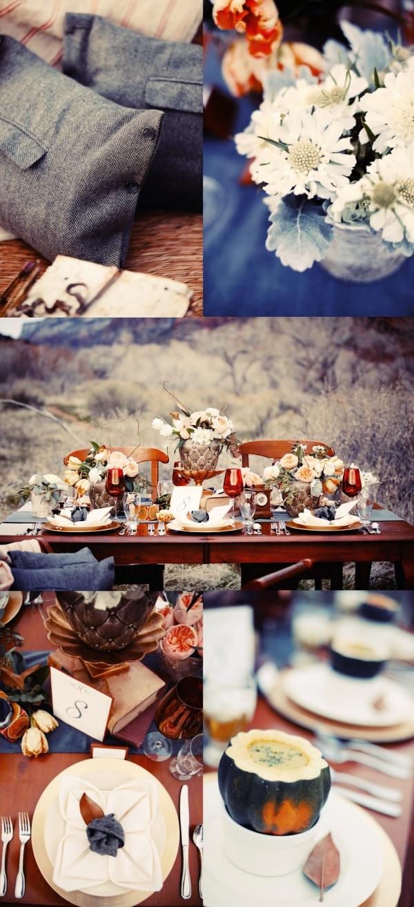 Hochzeit, Tischdekoration, Herbst, blau,