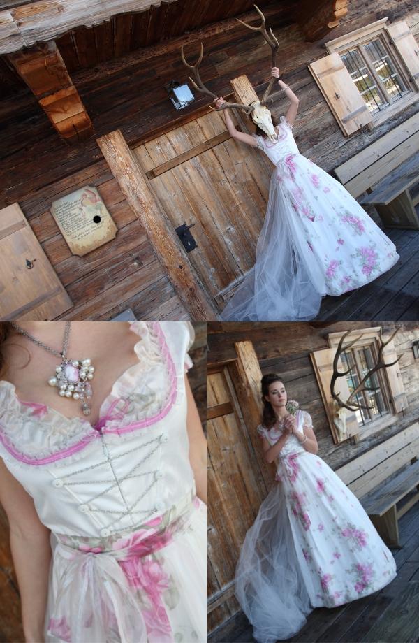 Brautdirndl, Braut, Hochzeitskleid, Dirndl, Hochzeit in Tracht, Berghütte