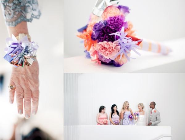 Brautstrauß, Papierblumen, rosa, lila