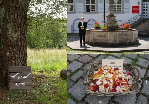 Trauung, Schild, Streublüten