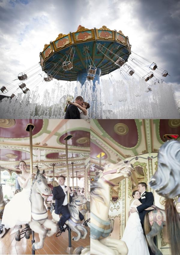 Hochzeit, Hochzeitsfoto, Jahrmarkt, Vergnügungspark, Karussel