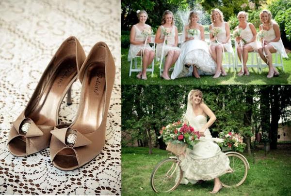 Braut, Trauzeuginnen, Brautschuhe