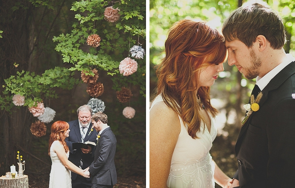 Brautpaar, Trauung, Dekoration, Pompoms