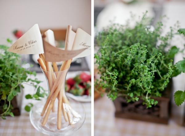 Hochzeit, Tischdeko, Grissini, Krfäutertopfe