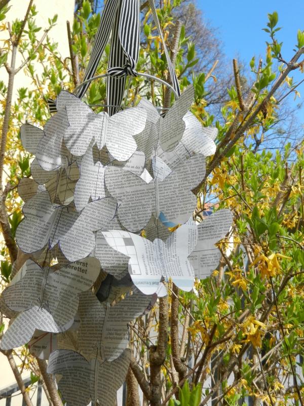 Schmetterlinge, Blüten, DIY, Mobilé