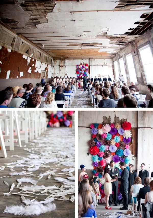 Hochzeit, Trauung, Dekration, Federn, Papier