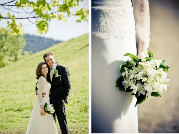 Brautstrauß, Maiglöckchen, Wicken
