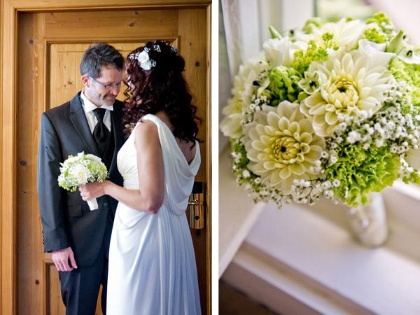 Hochzeit, Brautpaar, Brautstrauß