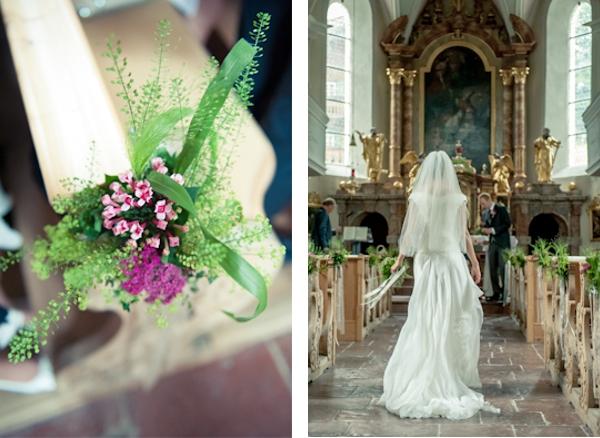 Hochzeit, Kirche, Braut, Bankdekoration