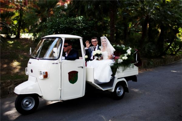 Hochzeit, Braut, Ape, Transport