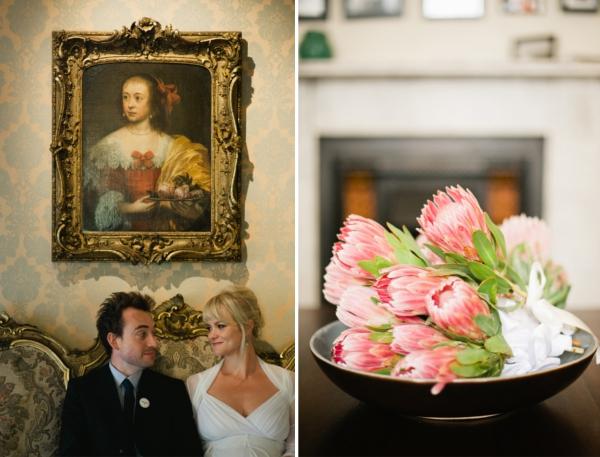 Hochzeit, Paar. Blumen
