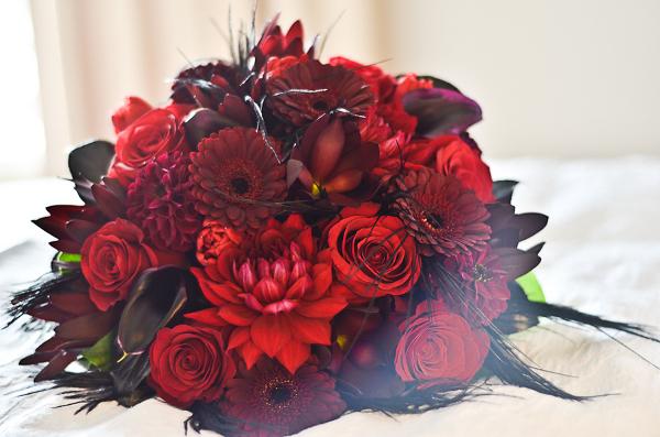 Verrückt nach Hochzeit, Halloween, rot, Herbst, Brautstrauß