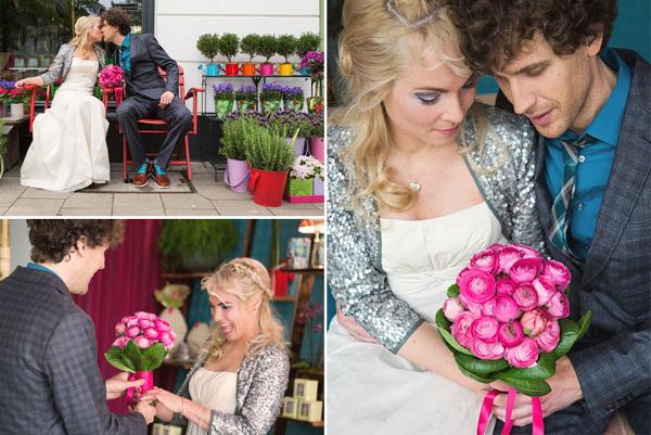 Hochzeit, Brautstrauß, Braut, Bräutigam, Blumen