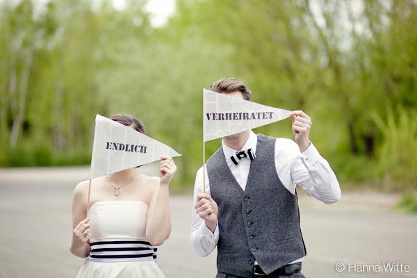Hochzeit, Verrückt nach Hochzeit, Duisburg Landschaftspark Nord, schwarzweiß, Fotoprops, Endlich verheiratet, Danksagungskarte