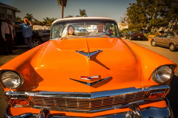 Hochzeit, Auto, 56er Belaire, orange