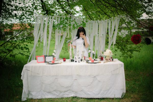 Hochzeitstisch, Braut, Dekoration, Schneewittchen