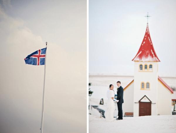 Brautpaar vor der Kirche in Island