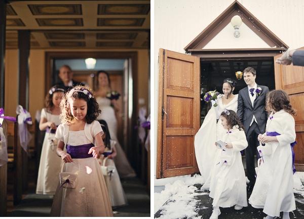 Brautpaar mit Blumenkindern