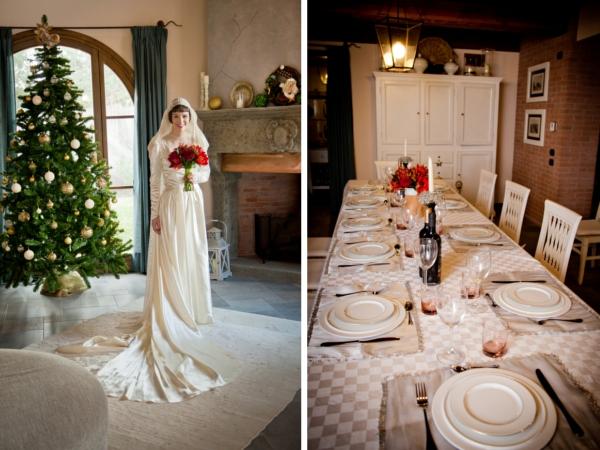 Dort strahlen Christbaum und Braut beim intimen Dinner um die Wette,