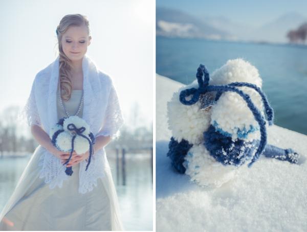 Hochzeitsinspiration für eine Winterhochzeit am Tegernsee. Brautstrauß