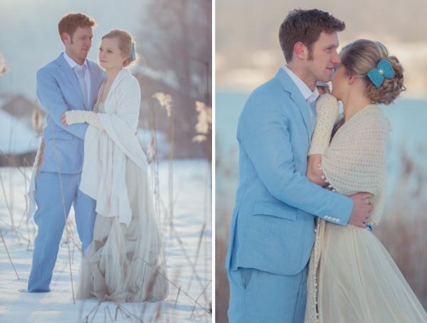 Inspiration für Winterhochzeit am Starnberger See, Hochzeit, Brautpaar