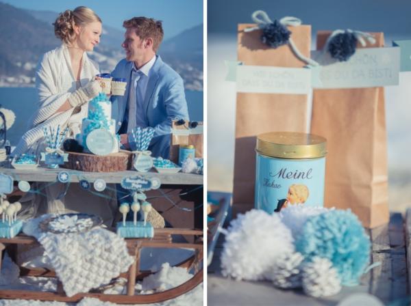 Inspiration für Winterhochzeit am Starnberger See, Hochzeit, Dekoration