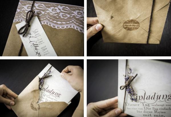 Duftige Einladung Aus Kraftpapier Und Spitze Verruckt Nach Hochzeit