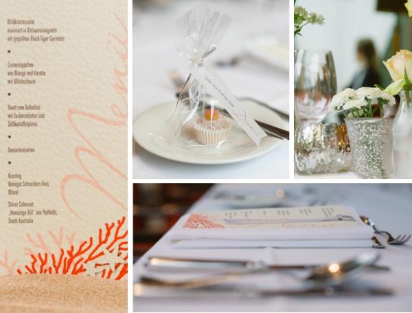 Tischdekoration in Apricot, Hochzeit gestaltet von Irina Thiessen und Katharina Sparwasse