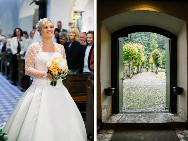 Braut auf dem Weg zum Altar, Maritime Hochzeit gestaltet von Irina Thiessen und Katharina Sparwasser