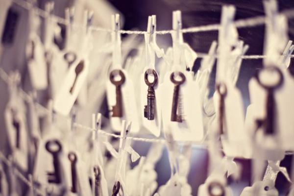 Englische Landhochzeit mit Hortensien, Escord Cards mit alten Schlüsseln