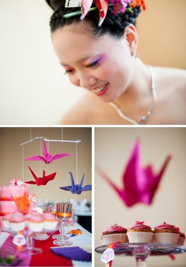 Mobile aus Origami-Kranichen über der Candybar