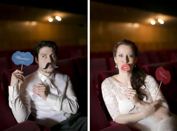 Brautpaar im Kino mit Madame und Monsieur Fotoprops