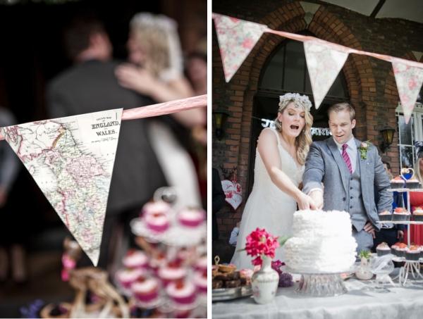 Frieda + Steve: DIY-Hochzeit in Duesseldorf | Girlanden aus Landkarten als Dekoration für das Kuchenbuffet