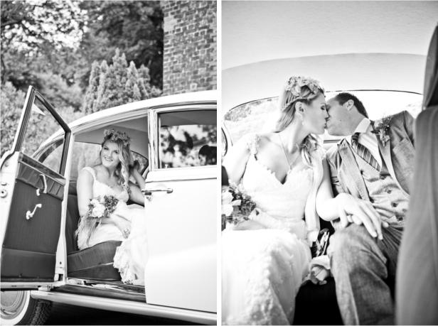 Frieda + Steve Hochzeit in Duesseldorf: Abreise im BMW Barockengel