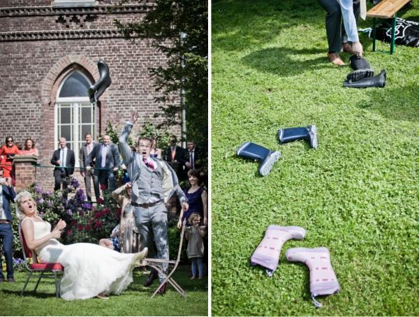 Frieda + Steve: DIY-Hochzeit in Duesseldorf | Gummistifel werfen ist in England Tradition auf Gartenparties