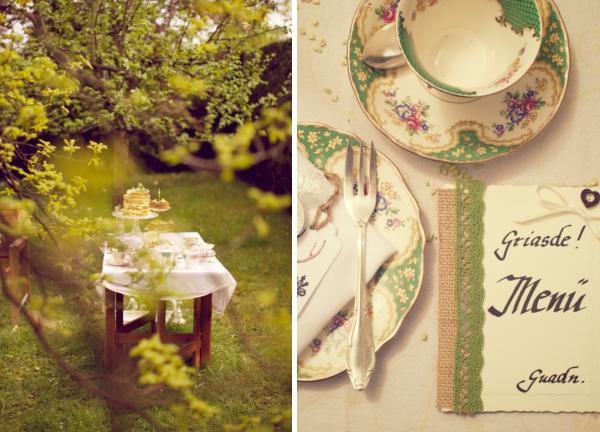 Frühling in Bayern: Hochzeitstafel unter Bäumen. Foto: Skyphoto